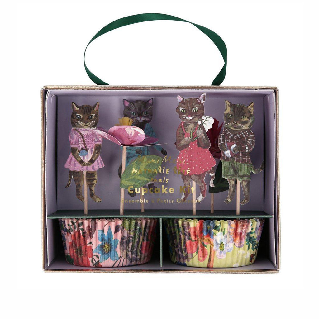 meri meri nathalie lete illustrated flora cat party cupcake kit with floral print cups and cats with clothes cake toppers