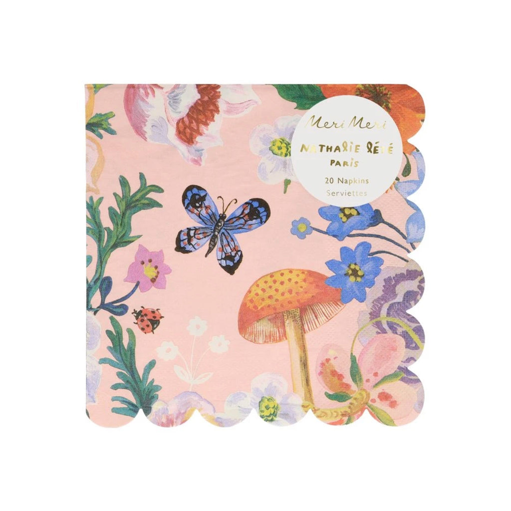 meri meri nathalie lete illustrated flora large napkin in packaging