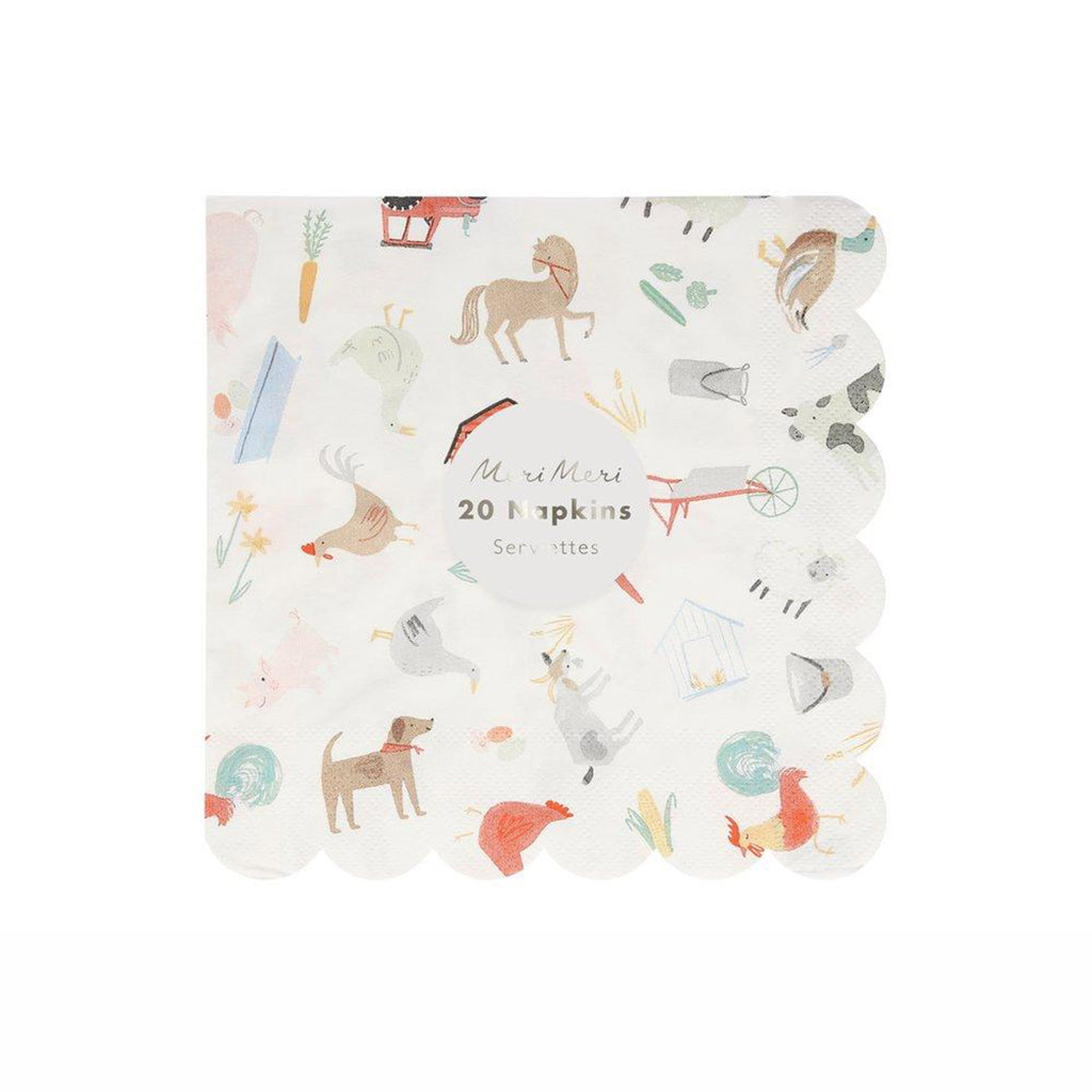 meri meri on the farm large party napkin with animal illustrations and scallop edge in packaging
