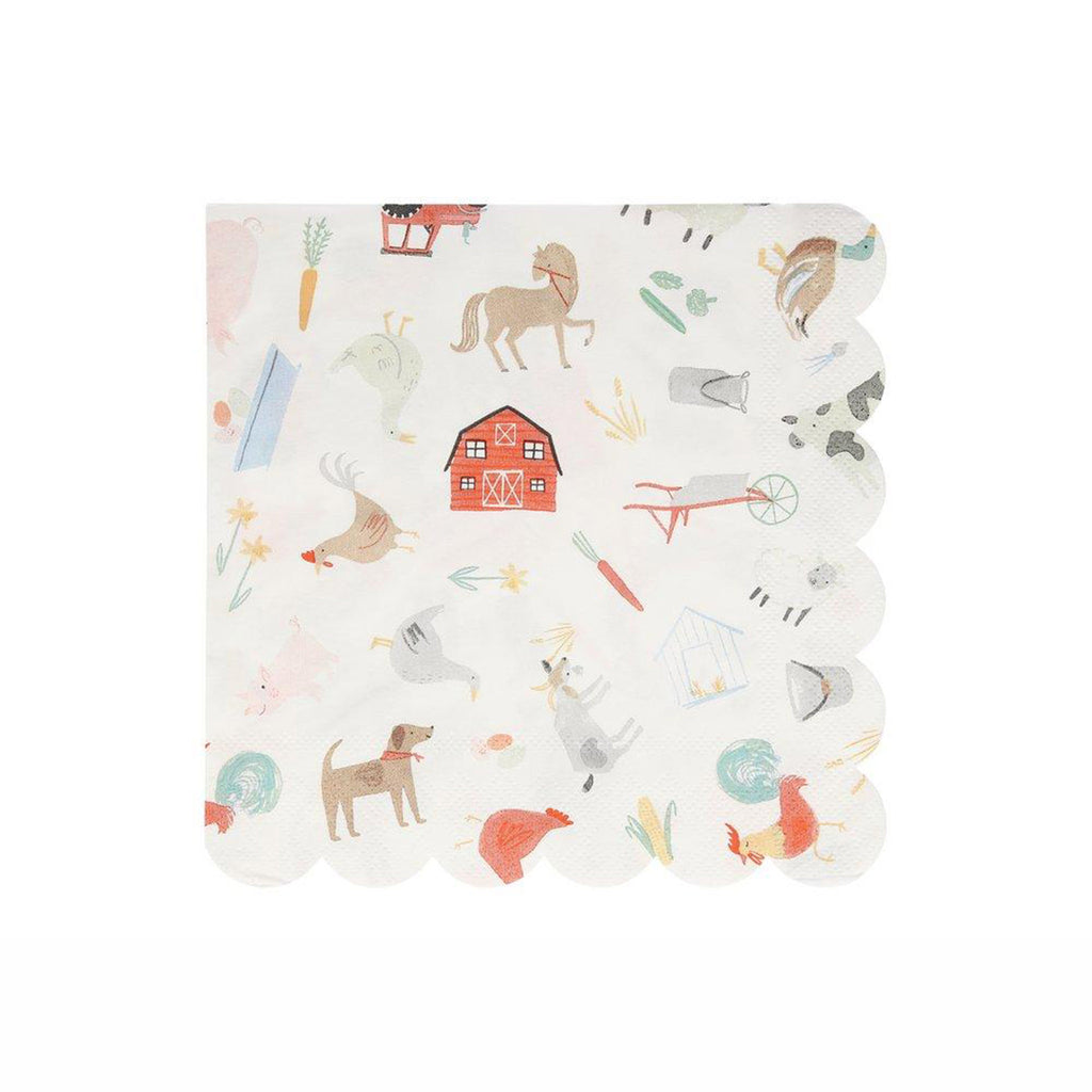 meri meri on the farm large party napkin with animal illustrations and scallop edge