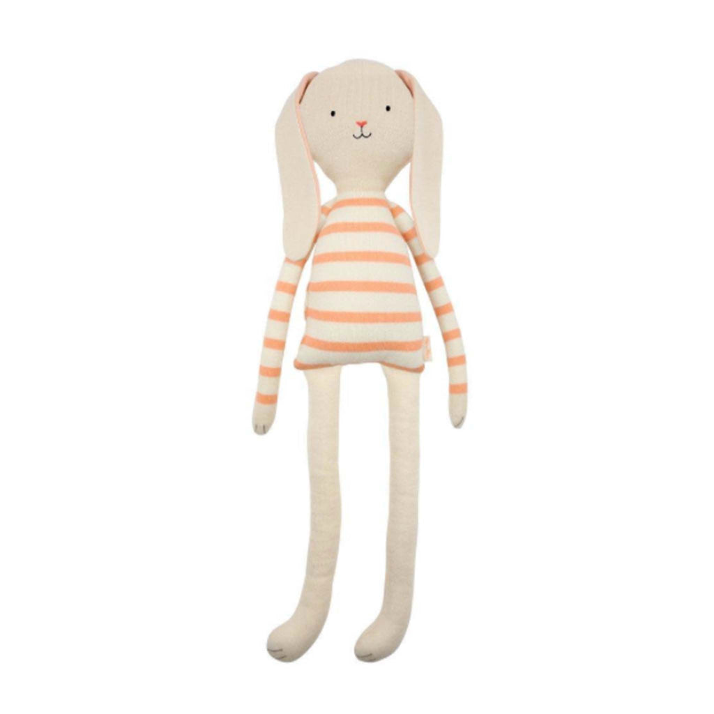 meri meri pepper small knit bunny with striped coral shirt front