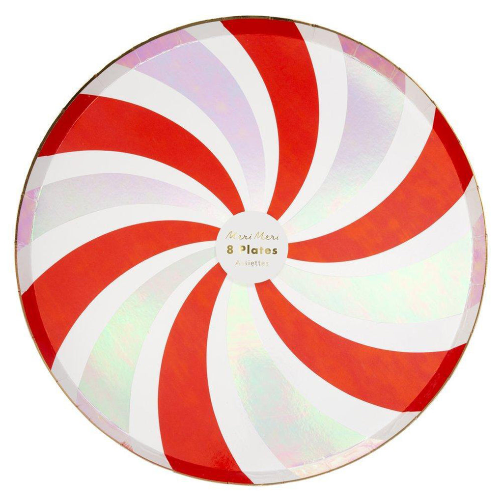 meri meri peppermint candy cane swirl holiday party dinner plates in packaging