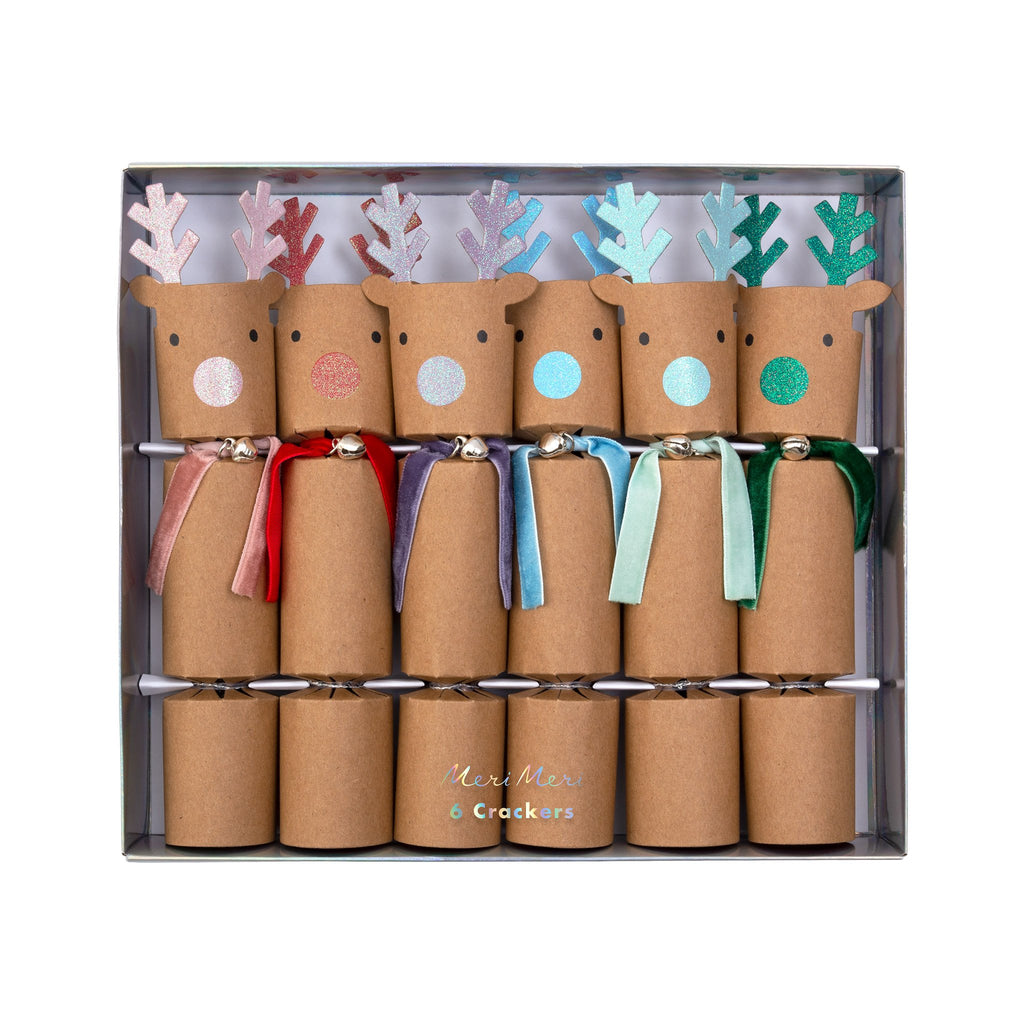 meri meri rainbow reindeer holiday party crackers in packaging