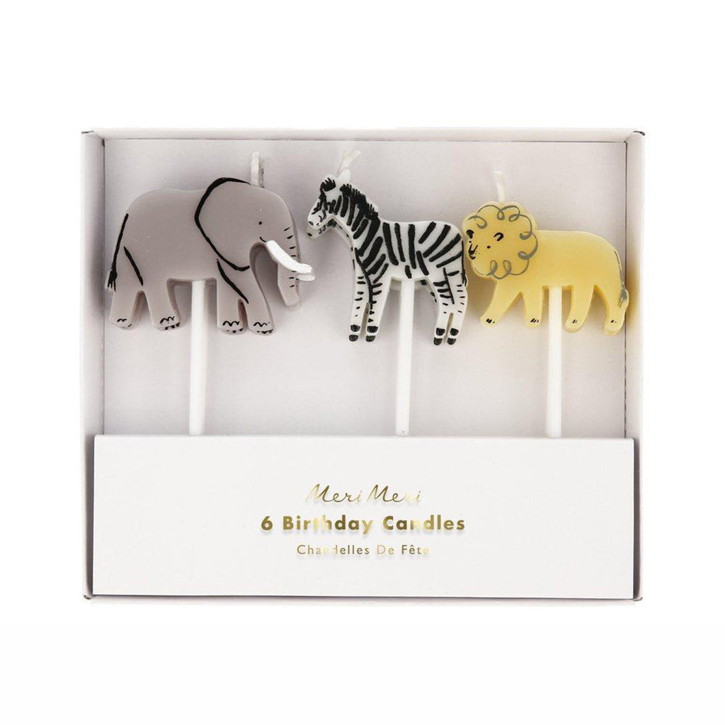 meri meri safari animal birthday cake party candles elephant zebra lion