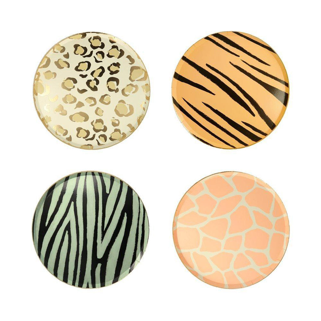meri meri safari animal print party side dessert plates four designs