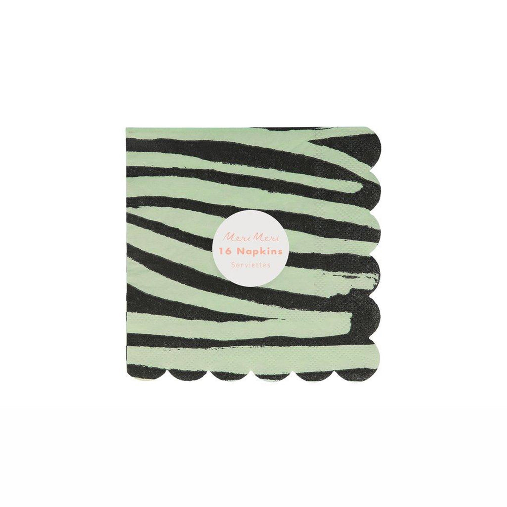meri meri safari animal print small party dessert napkins four assorted designs with scallop edges in packaging