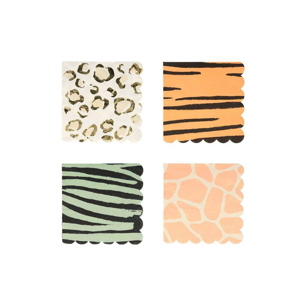 meri meri safari animal print small party dessert napkins four assorted designs with scallop edges
