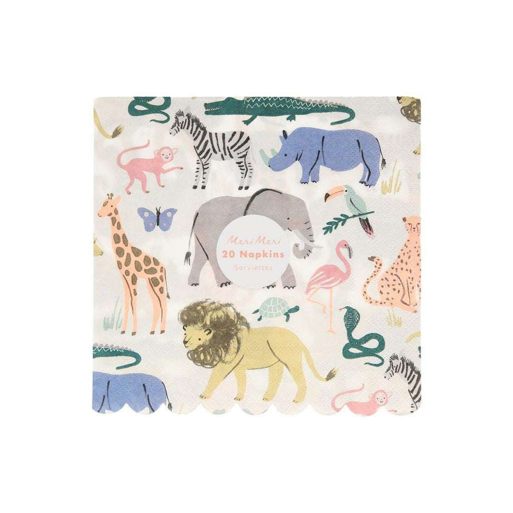 meri meri safari animals large party napkins with illustrated wild animals and scallop edges in packaging