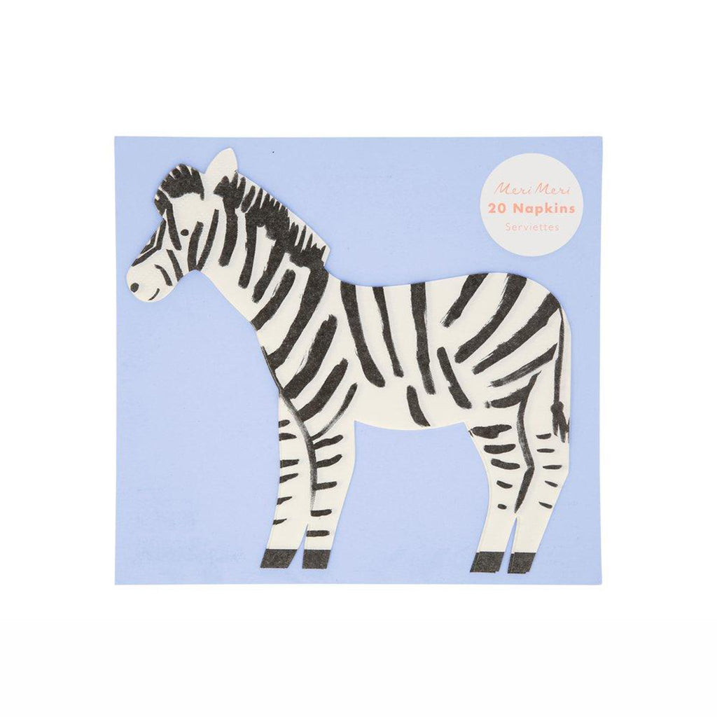 meri meri safari diecut zebra illustrated party napkins in packaging