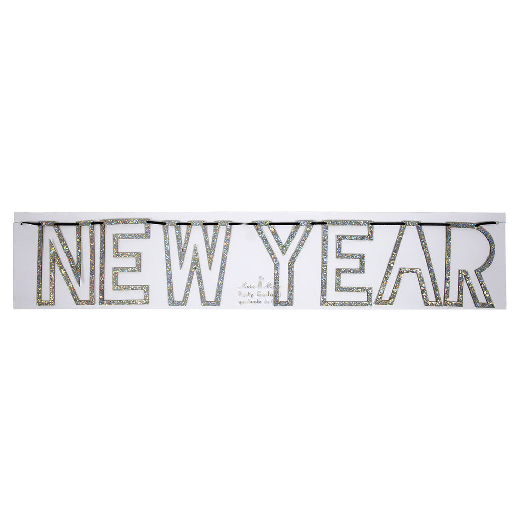 meri meri silver glitter happy new year garland party decoration packaging