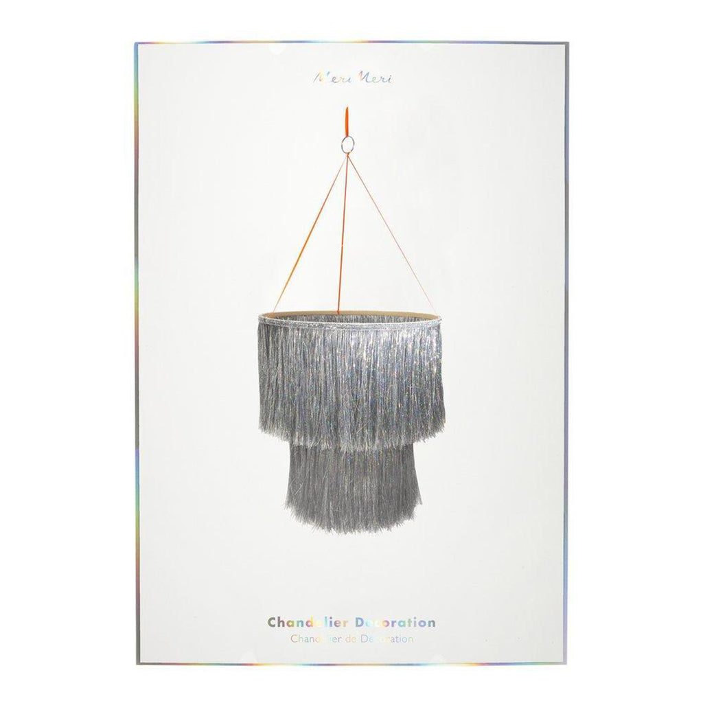 meri meri silver tinsel chandelier holiday party decoration in packaging