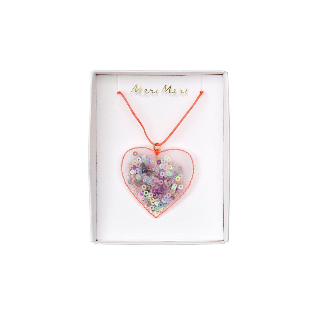 meri meri valentine's day accessories valentine heart shaker necklace in packaging