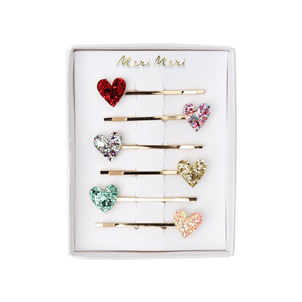 meri meri valentine's day accessories valentine glitter heart hairpin