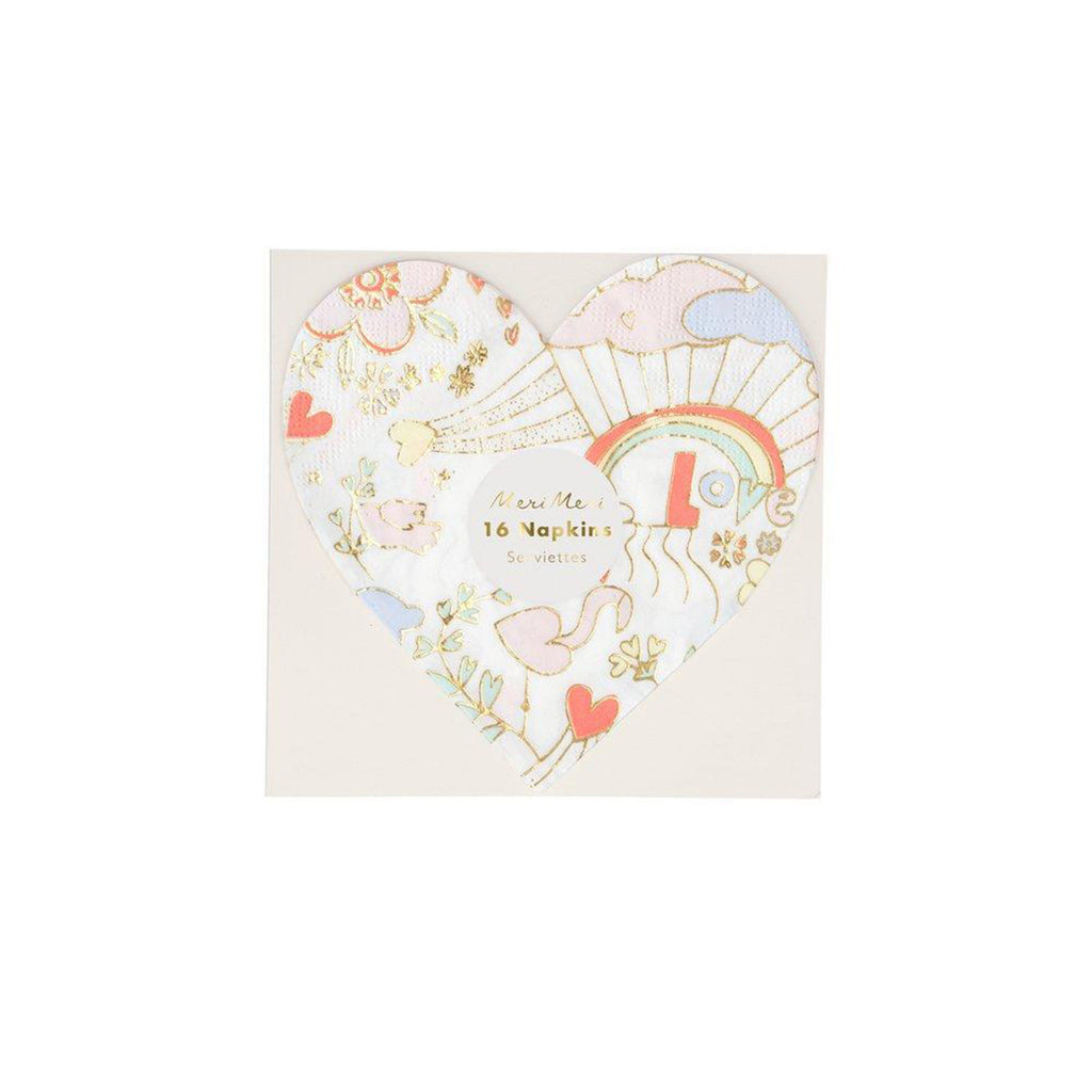 meri meri valentine's day party supplies valentine doodle small heart napkins in packaging