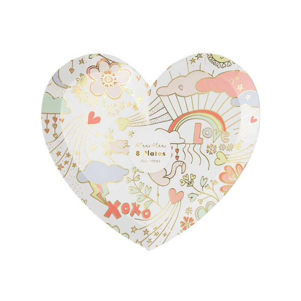 meri meri valentine's day party supplies valentine doodle small heart plates in packaging