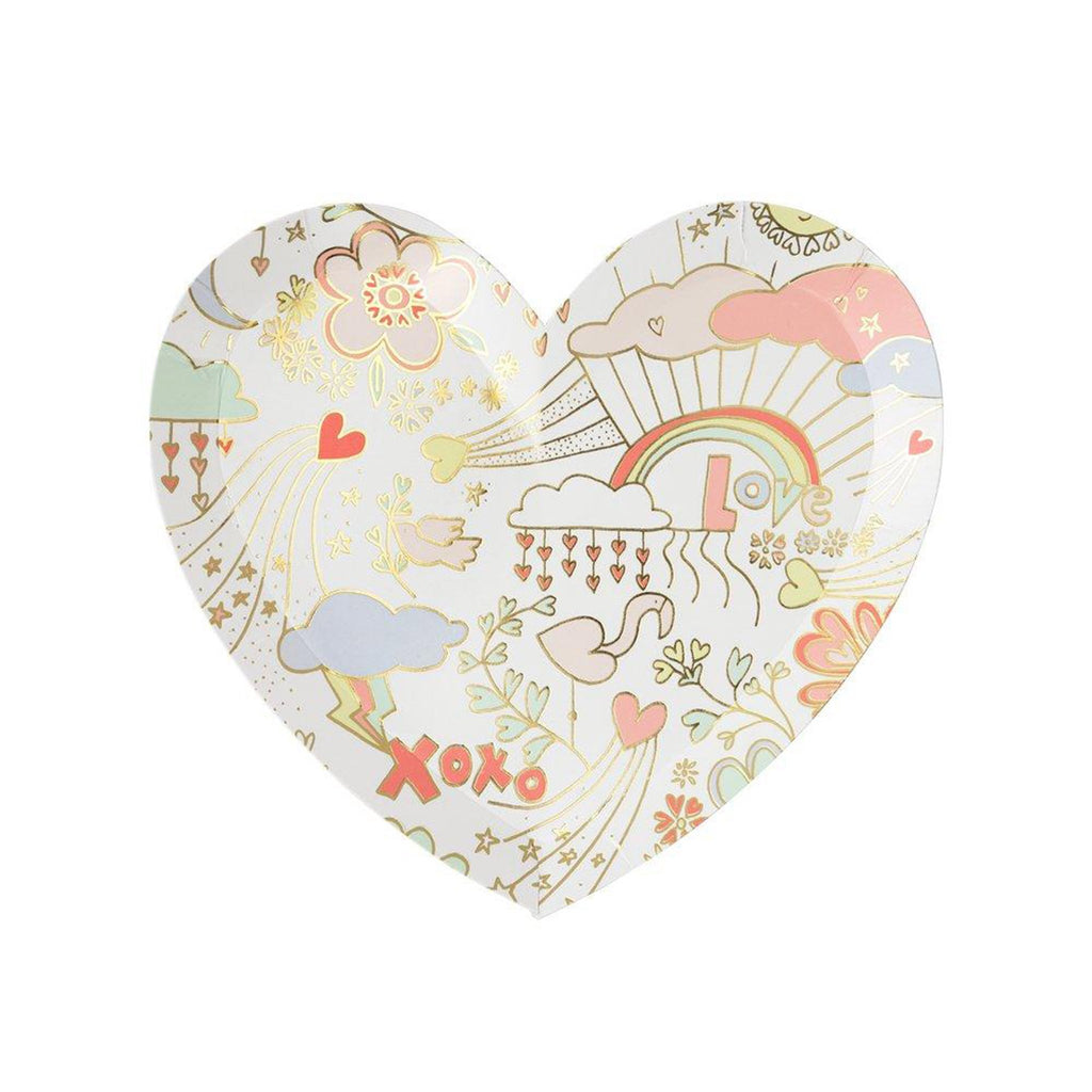 meri meri valentine's day party supplies valentine doodle small heart plates