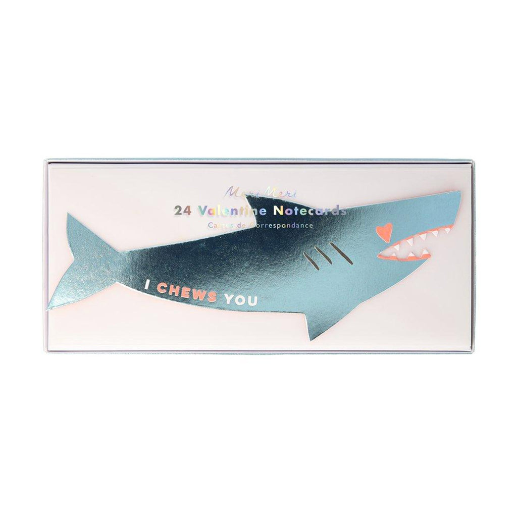 meri meri valentine's day stationery valentine shark sticker love notes set in packaging