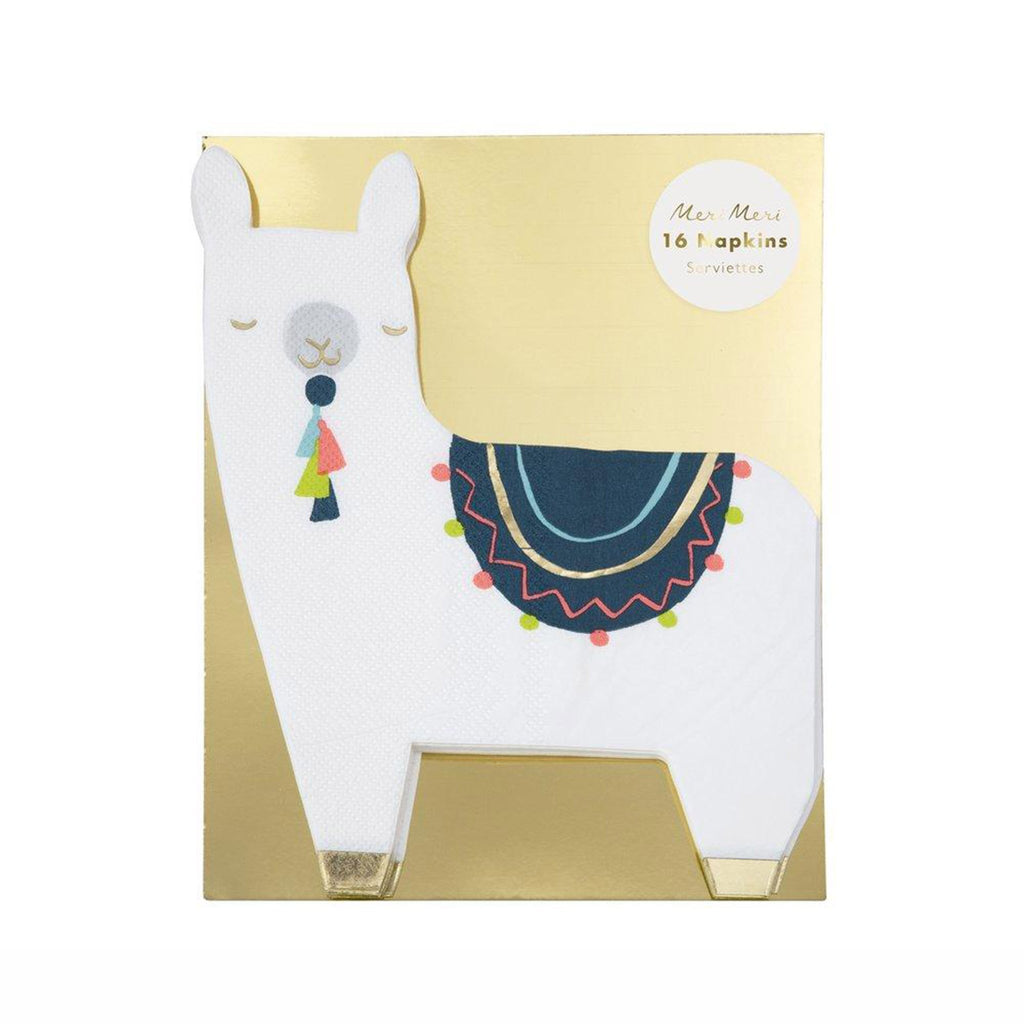 meri meri white llama party dinner napkins in packaging