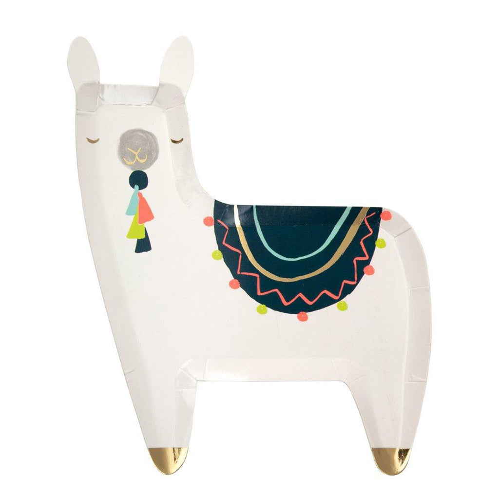 meri meri white llama party dinner plate with illustrated tassels and blanket