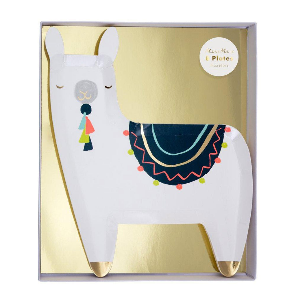 meri meri llama party dinner plate in box