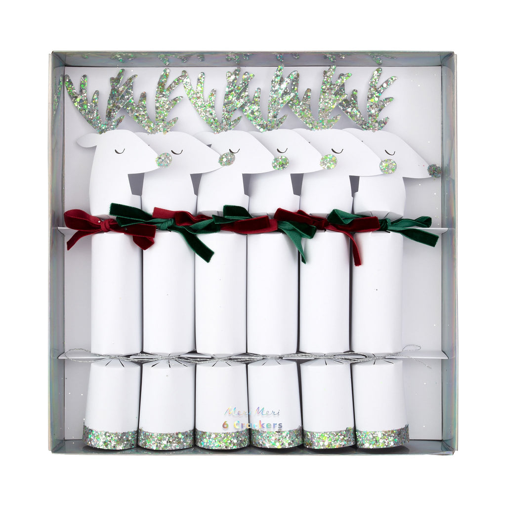 meri meri white reindeer holiday party crackers in packaging