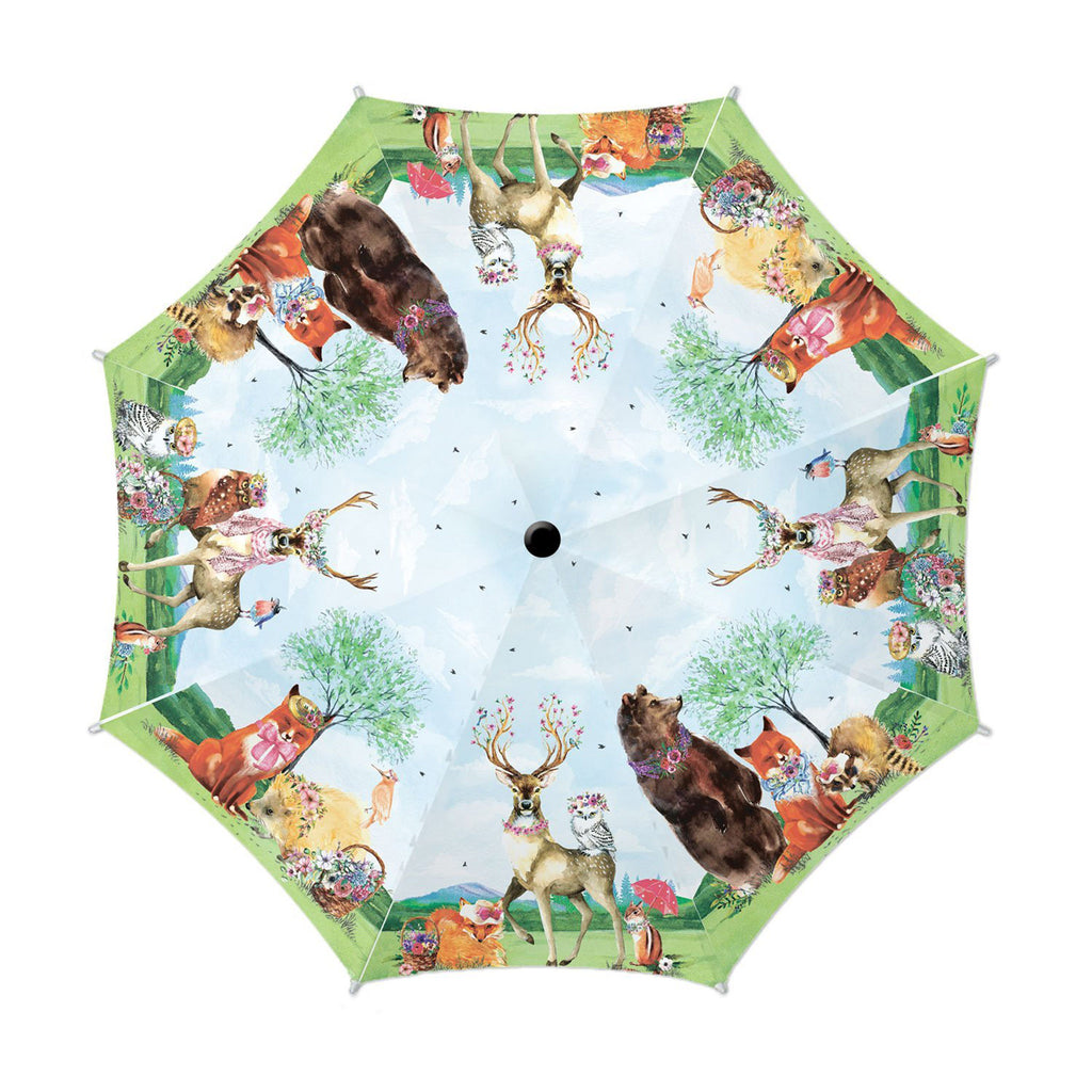 michel design works garden party woodland animals with floral print travel umbrella automatic open and close