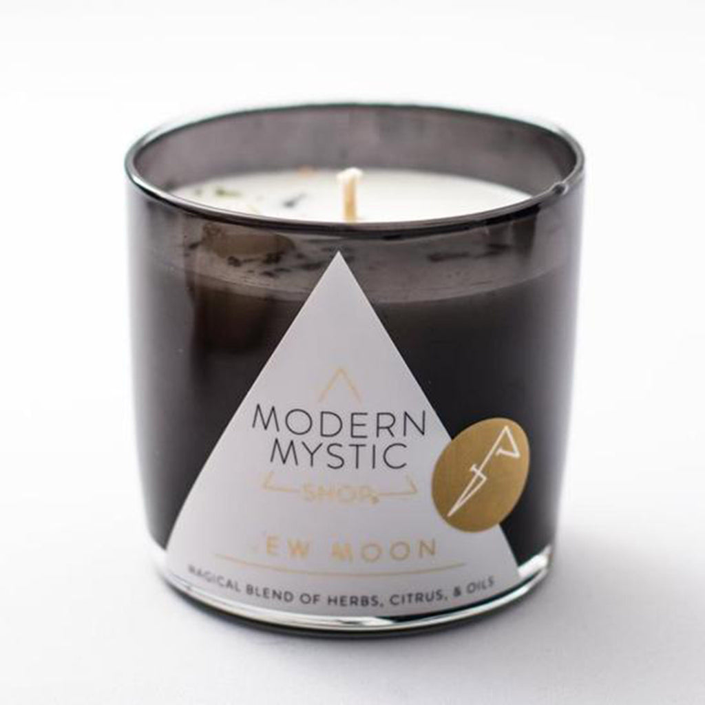 modern mystic new moon scented ritual candle front in black glass tumbler