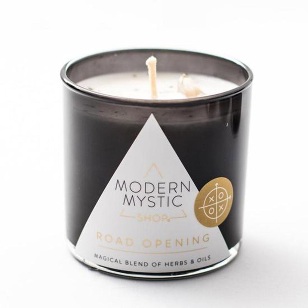 modern mystic road opening scented ritual candle front in black glass tumbler