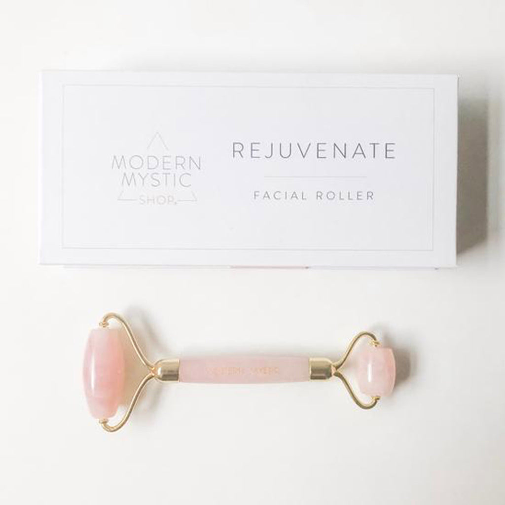 modern mystic rose quartz rejuvenate double-ended facial roller with box