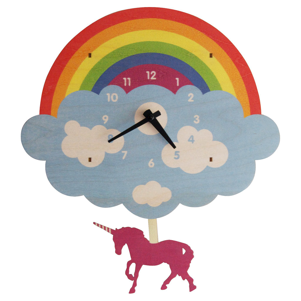 unicorn rainbow pendulum clock