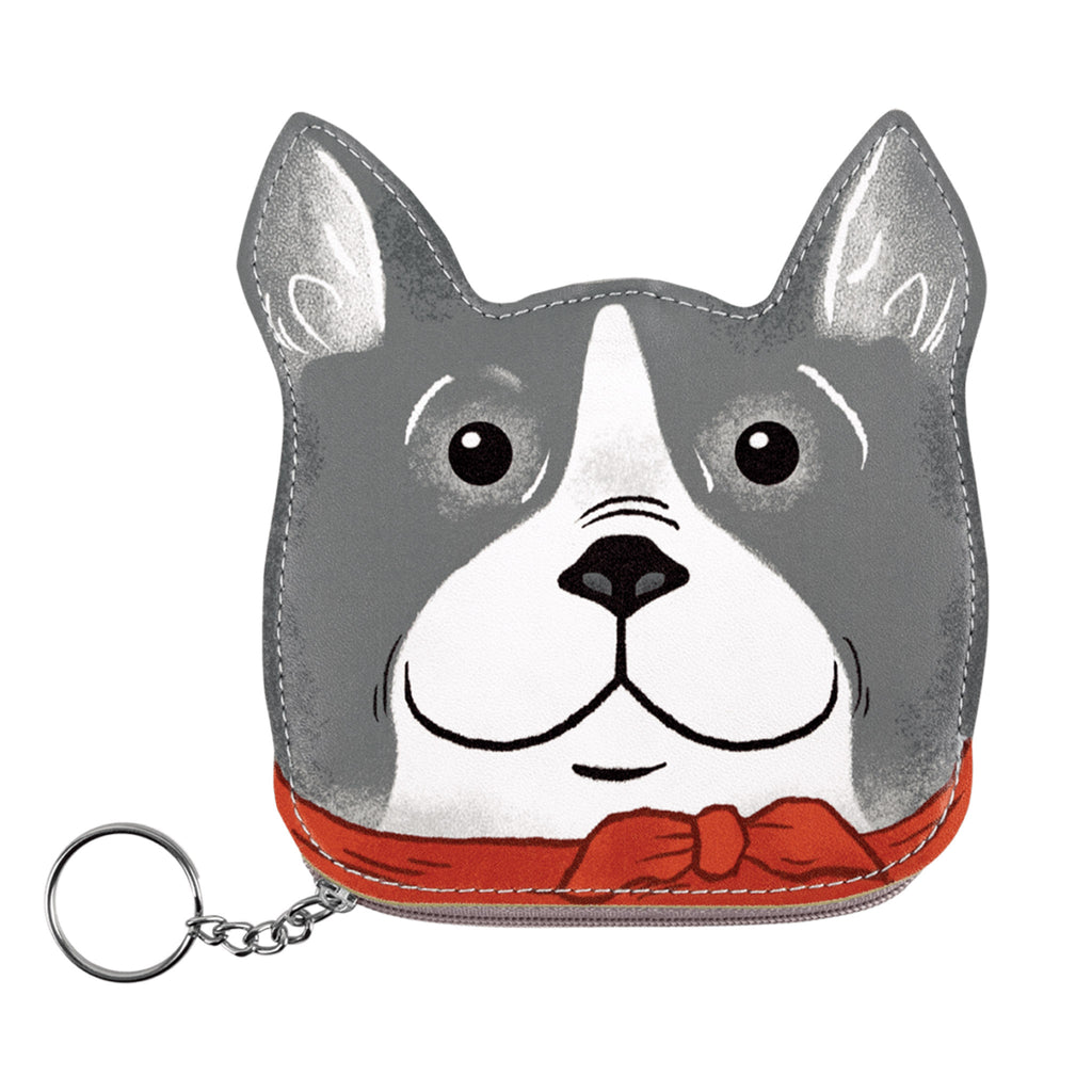 molly and rex bandana bulldog zipper coin pouch front