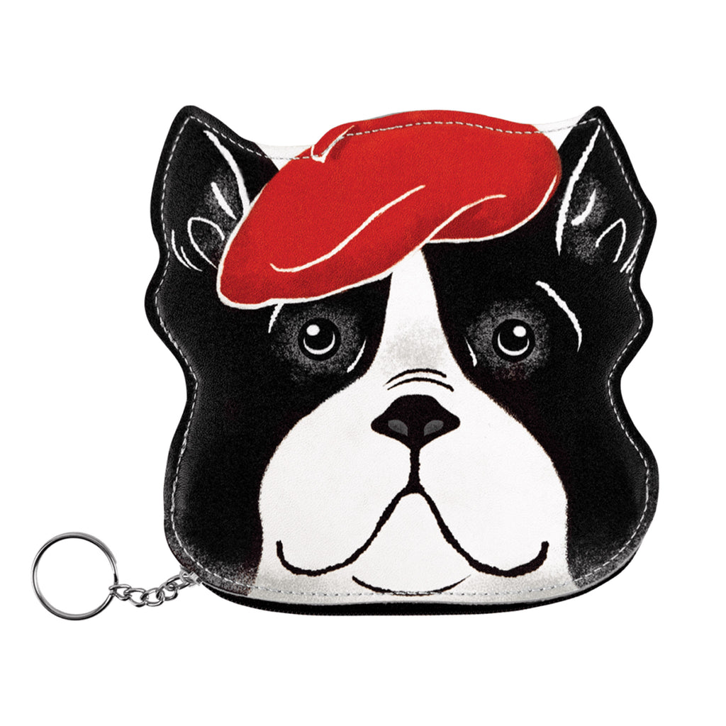 molly and rex beret boston terrier dog zippered coin pouch