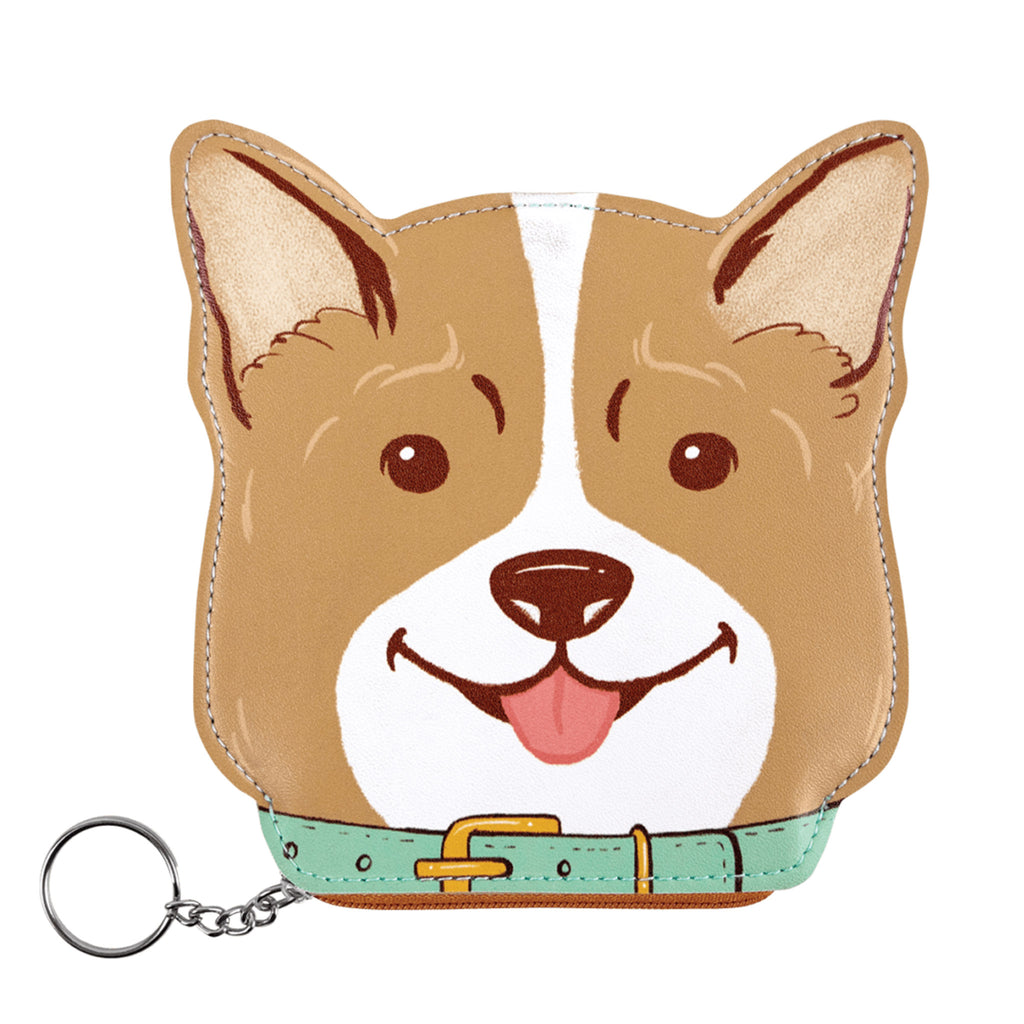 molly and rex corgi dog zippered coin pouch