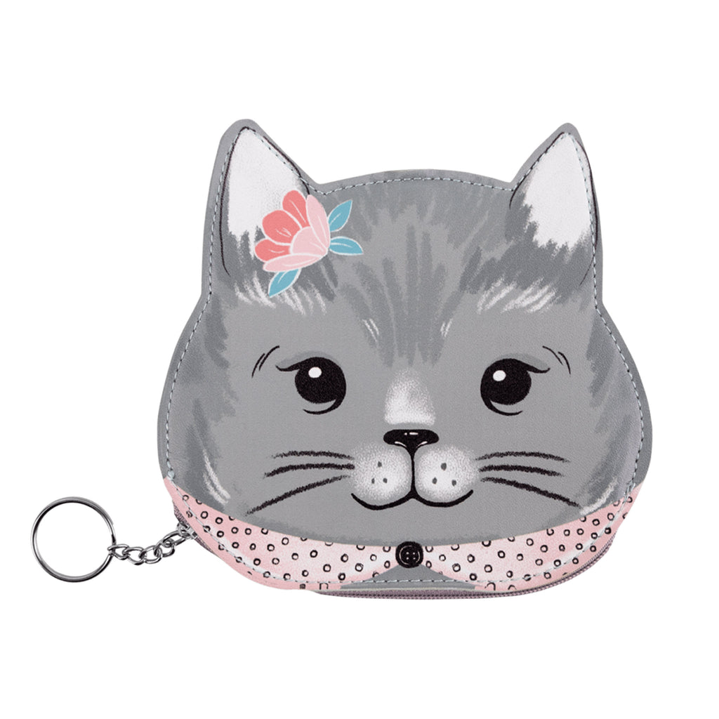 molly and rex gray kitten zippered coin pouch