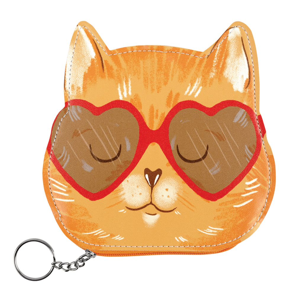 molly and rex orange cat with heart sunglasses zipper coin pouch
