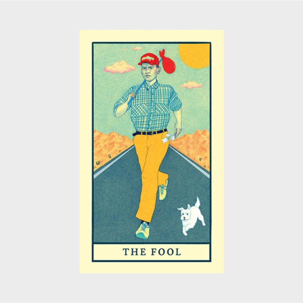 "movie tarot deck card with illustration of forest gump with the words ""the fool"""