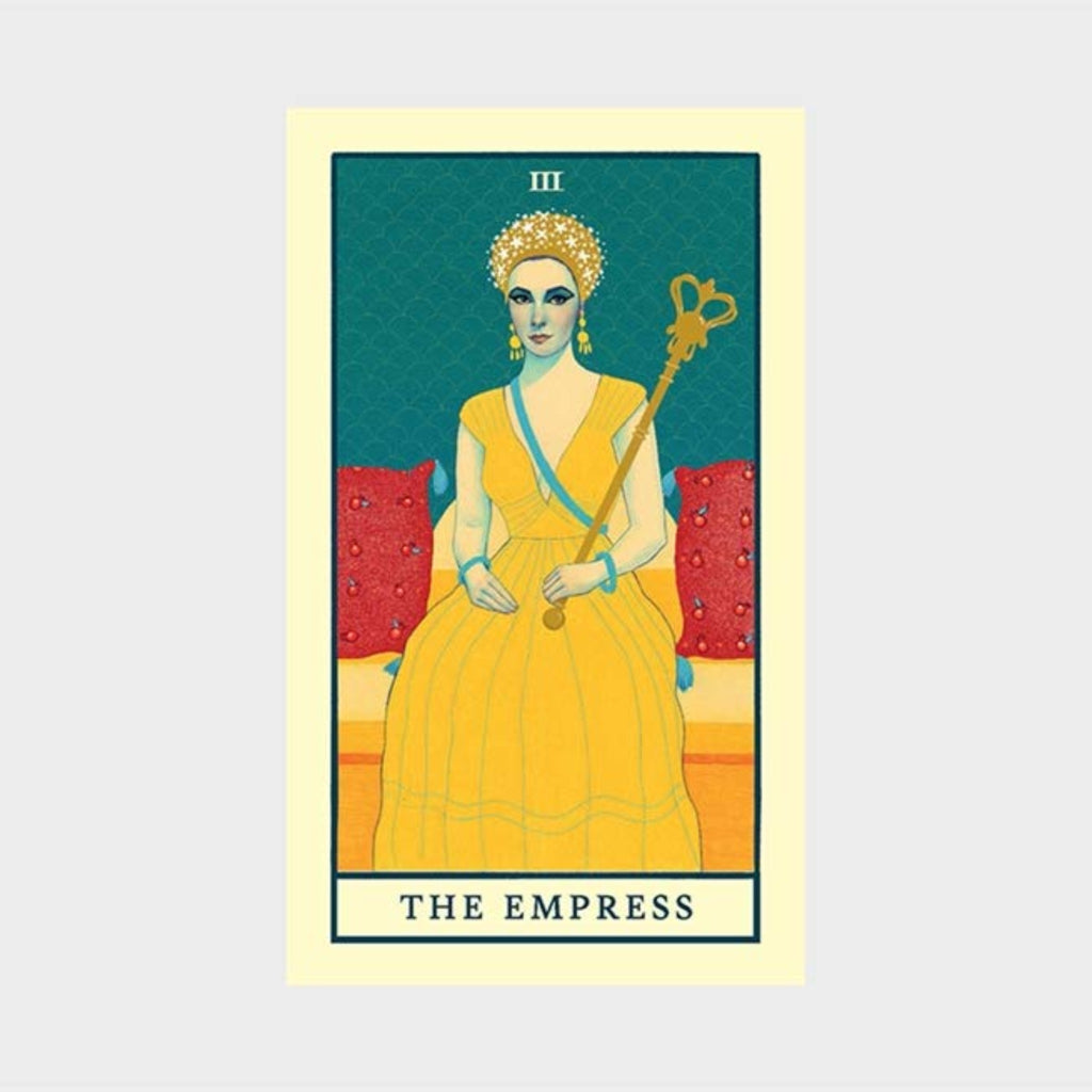 "movie tarot deck with illustration of elizabeth taylor as cleopatra with the words ""the empress"""
