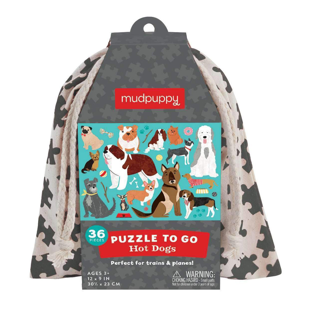 mudpuppy 36 piece hot dogs kids jigsaw puzzle to go in drawstring pouch front of packaging