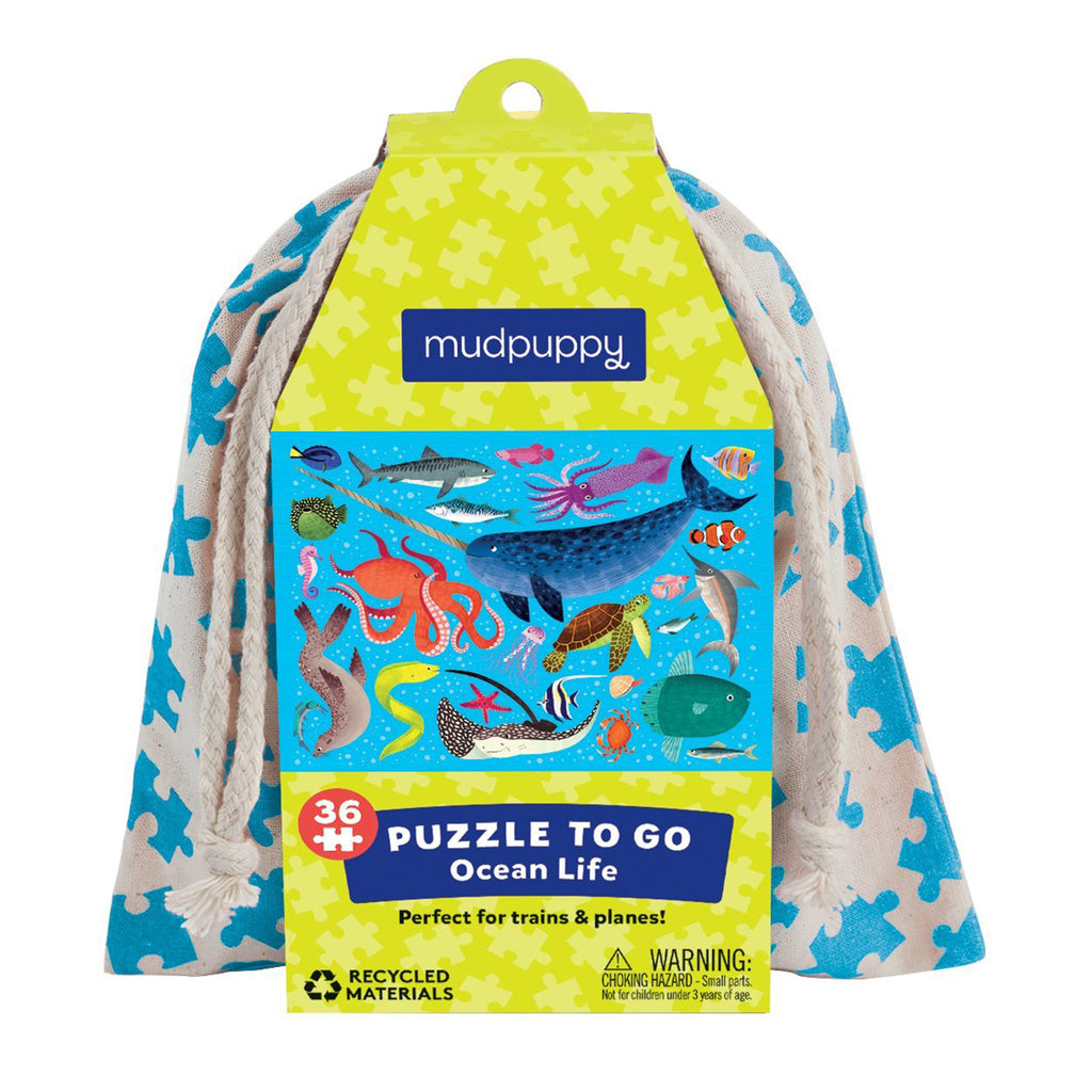 mudpuppy 36 piece ocean life kids jigsaw puzzle to go in drawstring pouch front in packaging