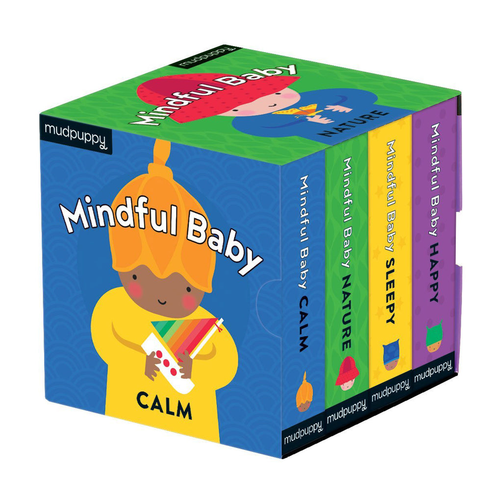 mudpuppy little series mindful baby board book set in slipcase packaging