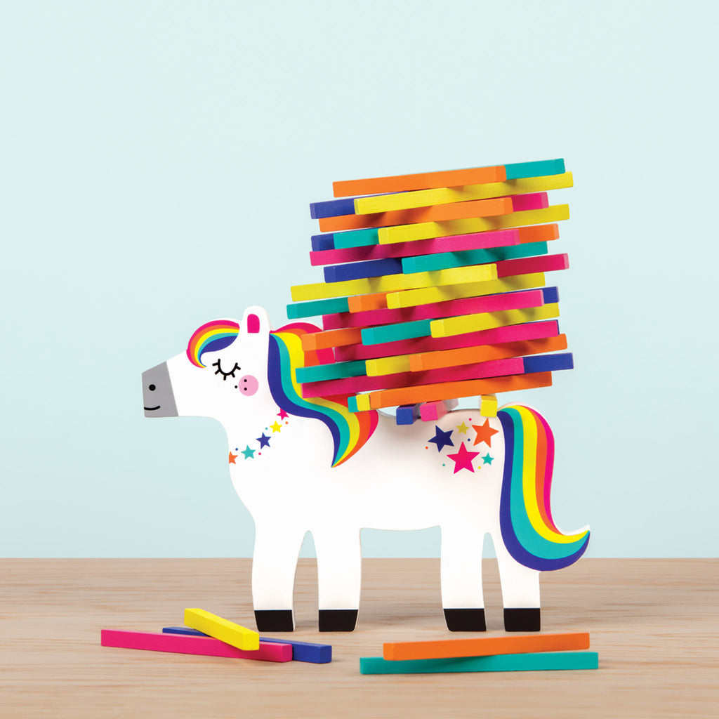 mudpuppy pony pile-up wooden family stacking balancing game in progress