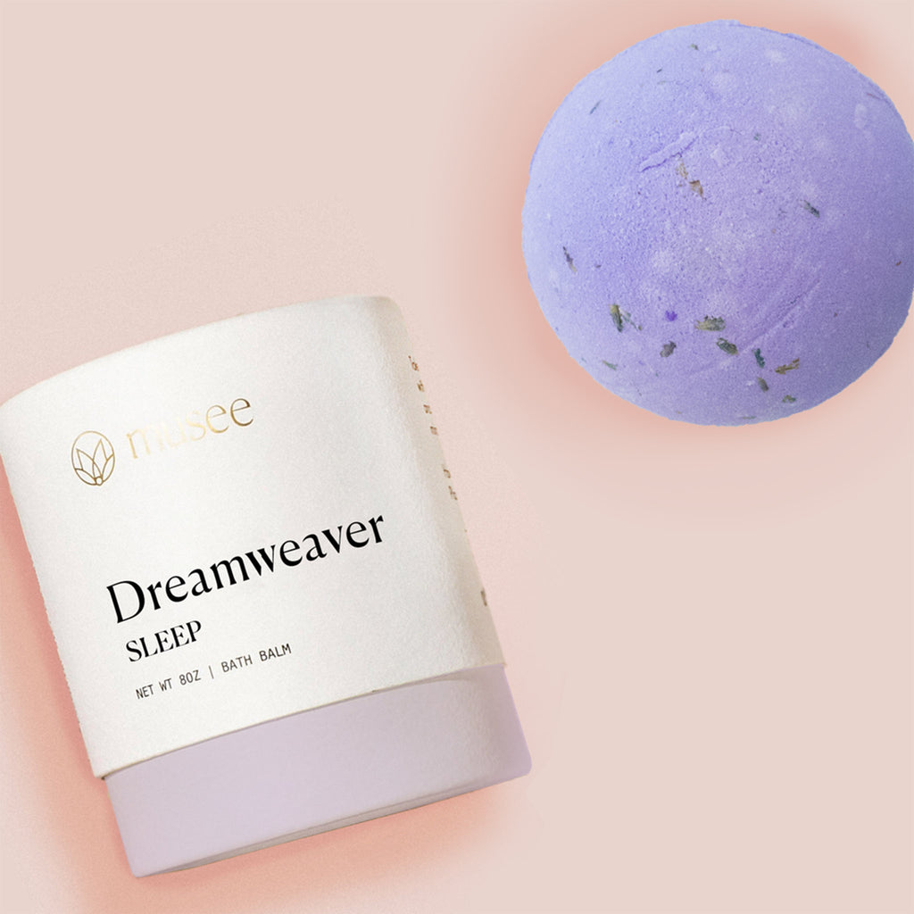 musee dreamweaver sleep chamomile and lavender scented purple bath balm bomb with box