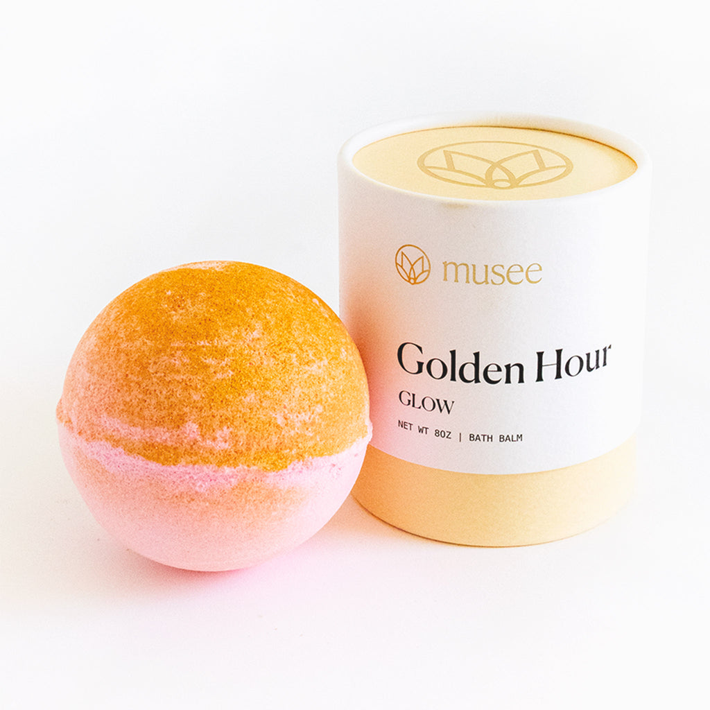 musee golden hour scented bath balm bomb fizzer with packaging