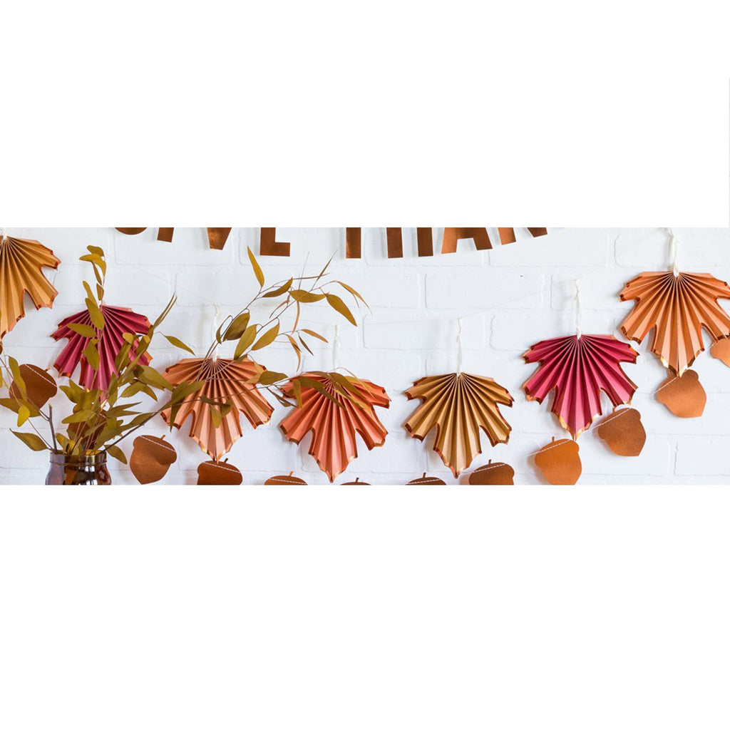 thanksgiving harvest leaf banner hanging on wall