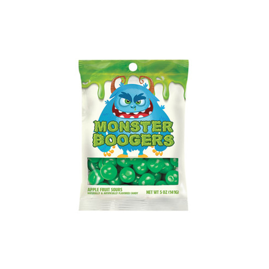nassau candy monster boogers green apple fruit sours candy in a bag with a big blue monster on it