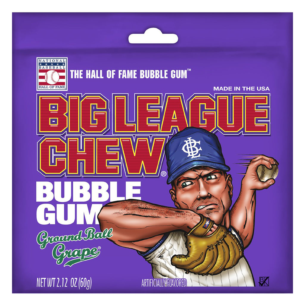 big league chew bubble gum in ground ball grape pouch