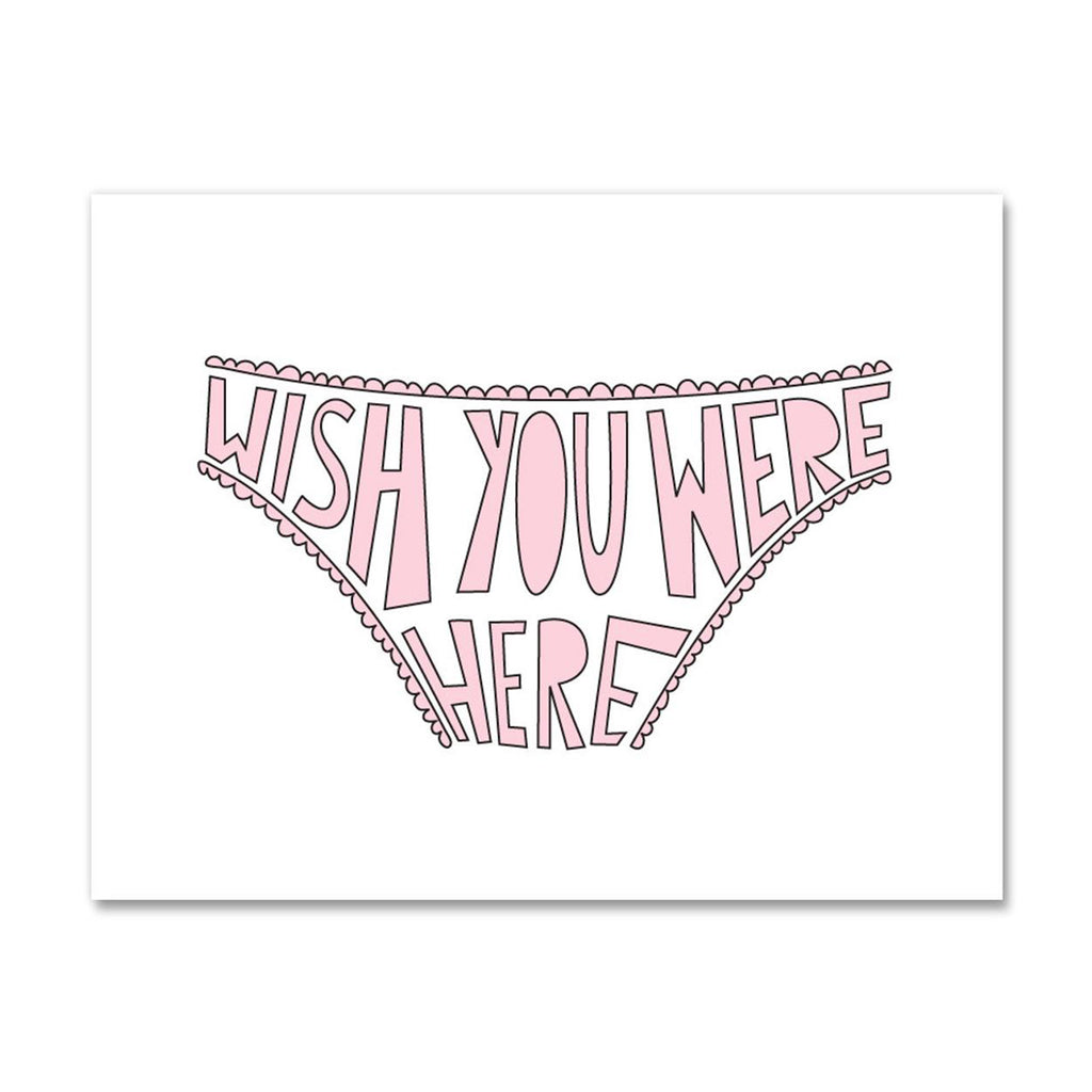 near modern disaster wish you were here bikini panties in pink valentine's day greeting card with envelope