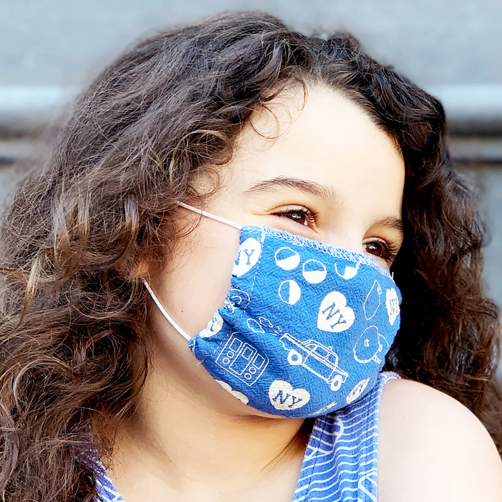 new york kids face mask blue
