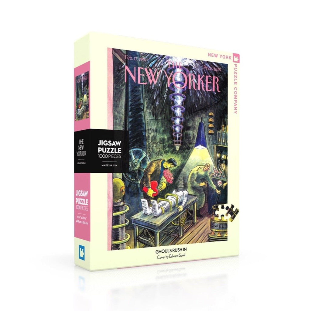 new york puzzle company 1000 piece ghouls rush in new yorker halloween jigsaw puzzle box front on angle