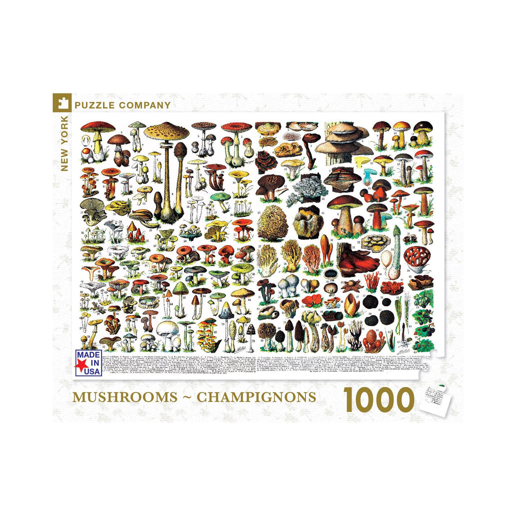 new york puzzle company 1000 piece mushrooms champignons jigsaw puzzle box